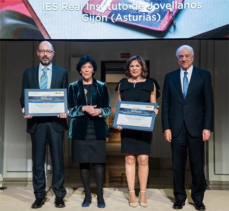Manuel Santiago López, la ministra Isabel Celaá, María Jesús Fernández Ollero y Francisco González